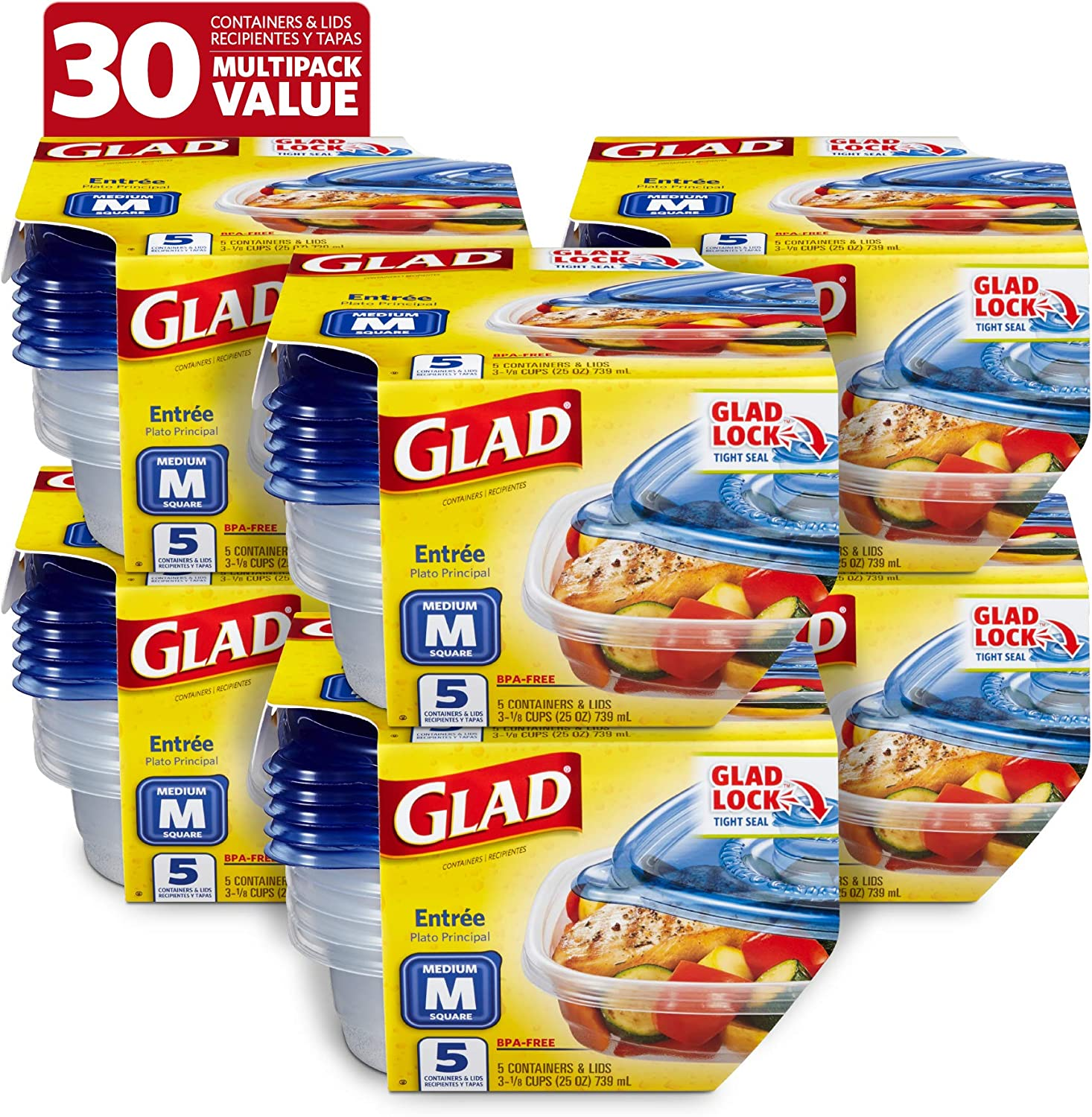 Glad BB13454PCS6 Food Storage Containers, 5 Count (Pack of 6), Standard, 6