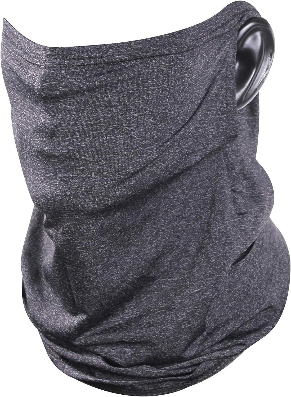 Fasoar Face Bandana Ear Loops Neck Gaiter Face Cover Scarf Balaclava for Sun Dust Wind Cycling