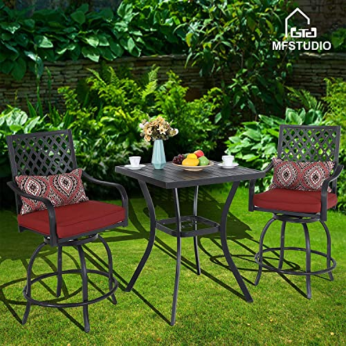 31 Metal Patio Height Bar Table Bistro Square Dining Table Outdoor Furniture Steel Frame All Weather for Outdoor, with Umbrella Hole for Outdoor Garden- 36 Height