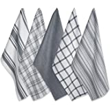 """DII 100% Cotton, Ultra Absorbent Fast Dry, Professional Grade, Luxury Everyday Basic Kitchen Assorted Dish Towels 18 x 28"""" Set of 5- Gray"""