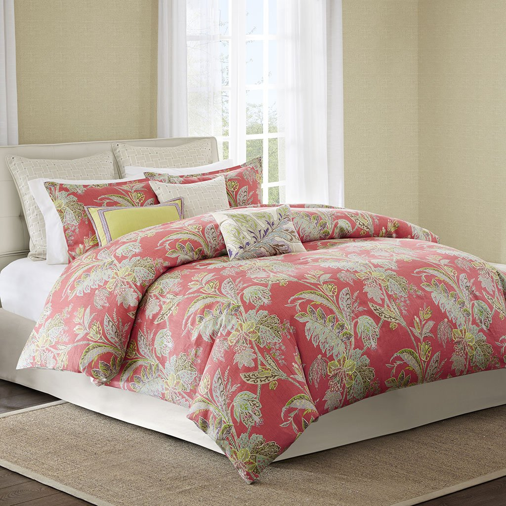 Echo Bedding Ishana Duvet Cover Mini Set, King, Coral
