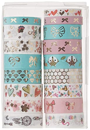 Japanese Stationery Planner Basic Essentials Geometric Rose Gold Foiled Simple Thin Washi Tape