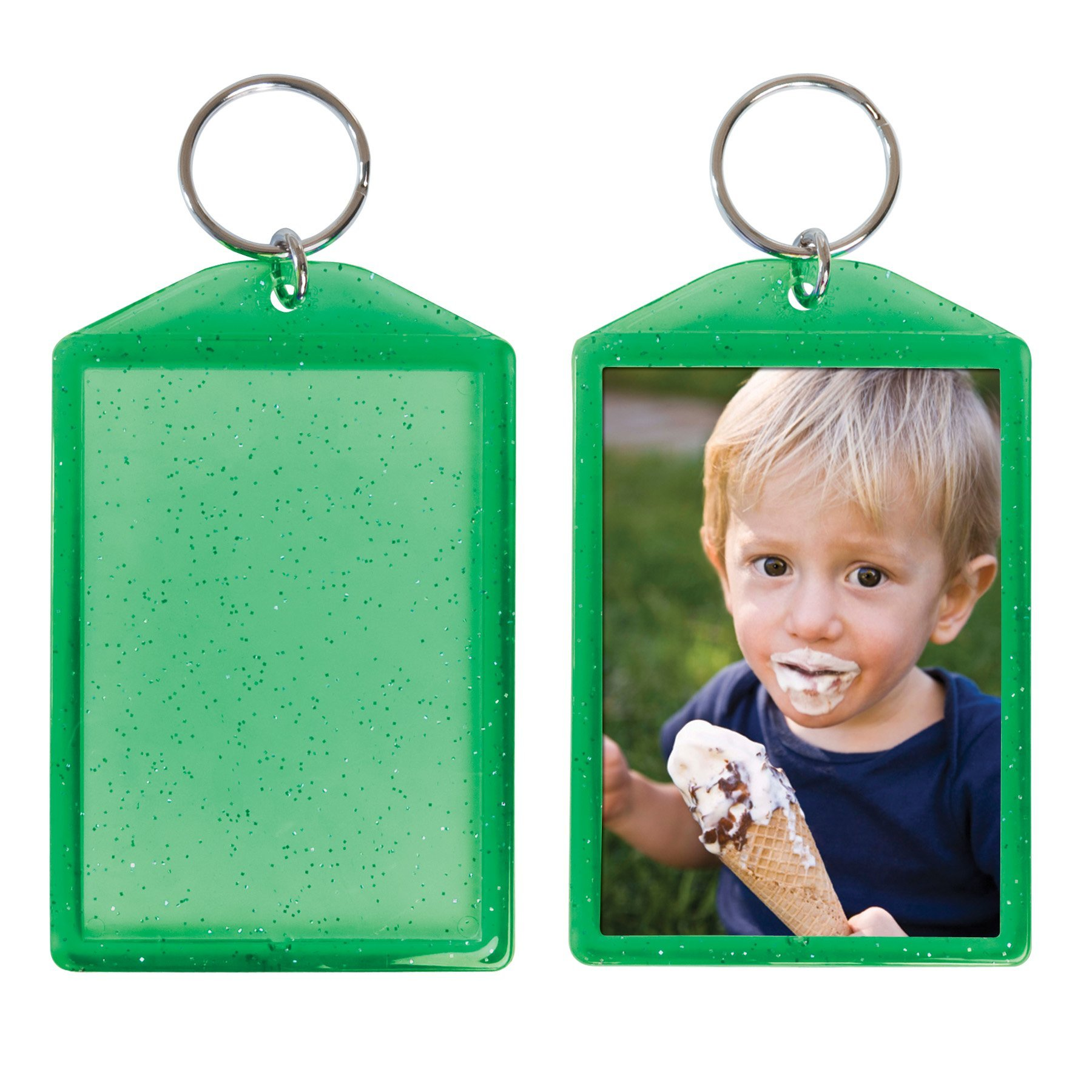 Translucent Sparkle Photo Keychain - 24 Pack (Forest Green)