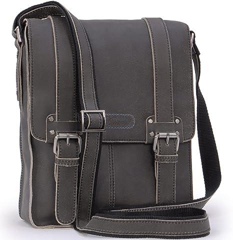 Small Shoulder//Messenger Bag Kindle//iPad//Tablet Size Ed Ashwood Cross Body Bag Camden 8355 Black Distressed Leather