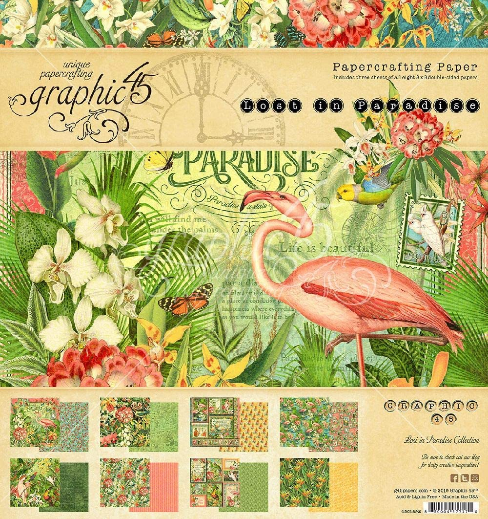 Graphic 45 Lost in Paradise 8x8 Pad Craft Paper, Multi