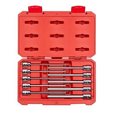 TEKTON 3/8 Inch Drive Long Hex Bit Socket Set, 10-Piece (3-10 mm) | SHB91302