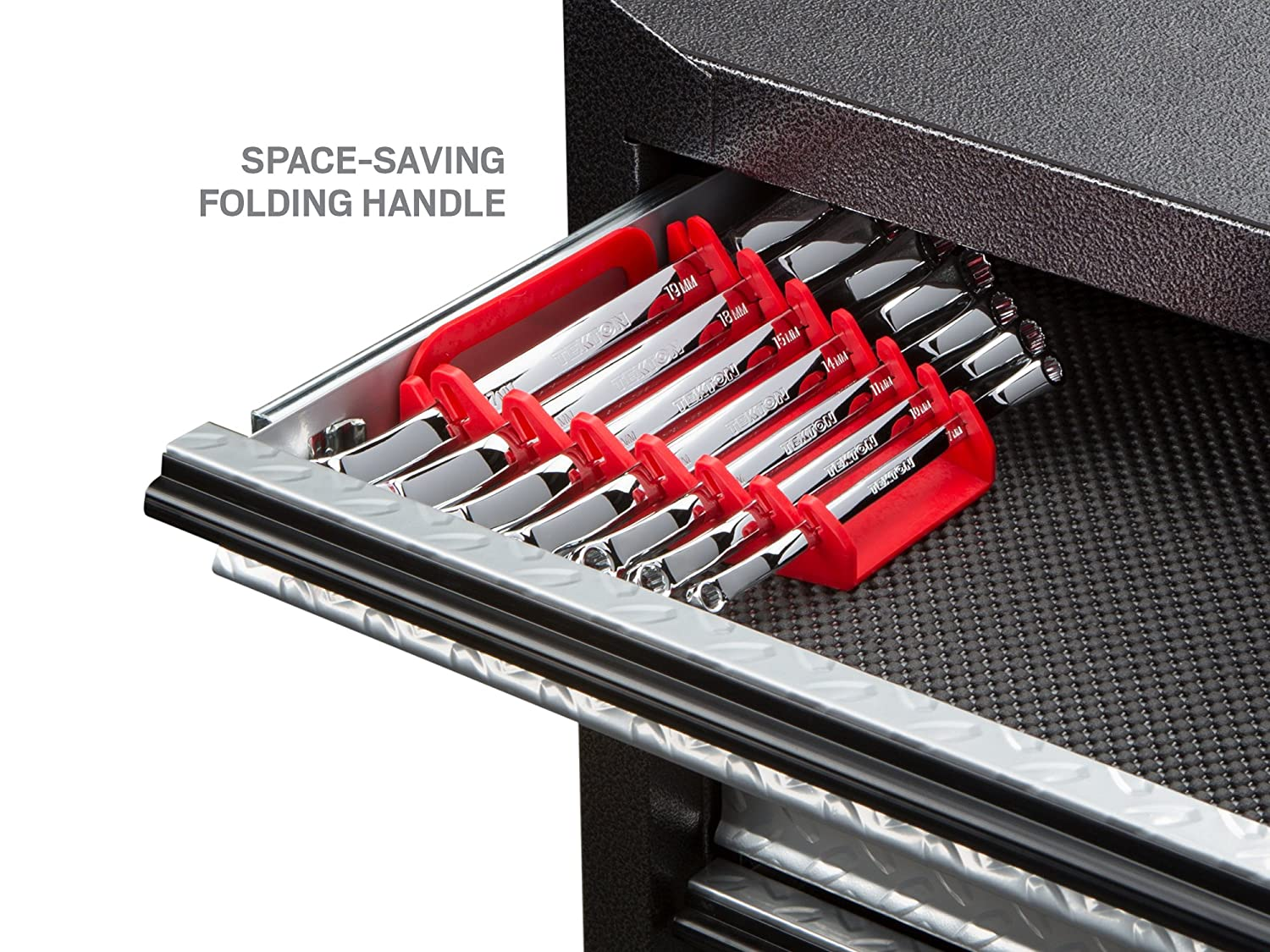 WBE24407 19 mm 6 mm Metric 7-Piece TEKTON 45-Degree Offset Box End Wrench Set with Store and Go Keeper