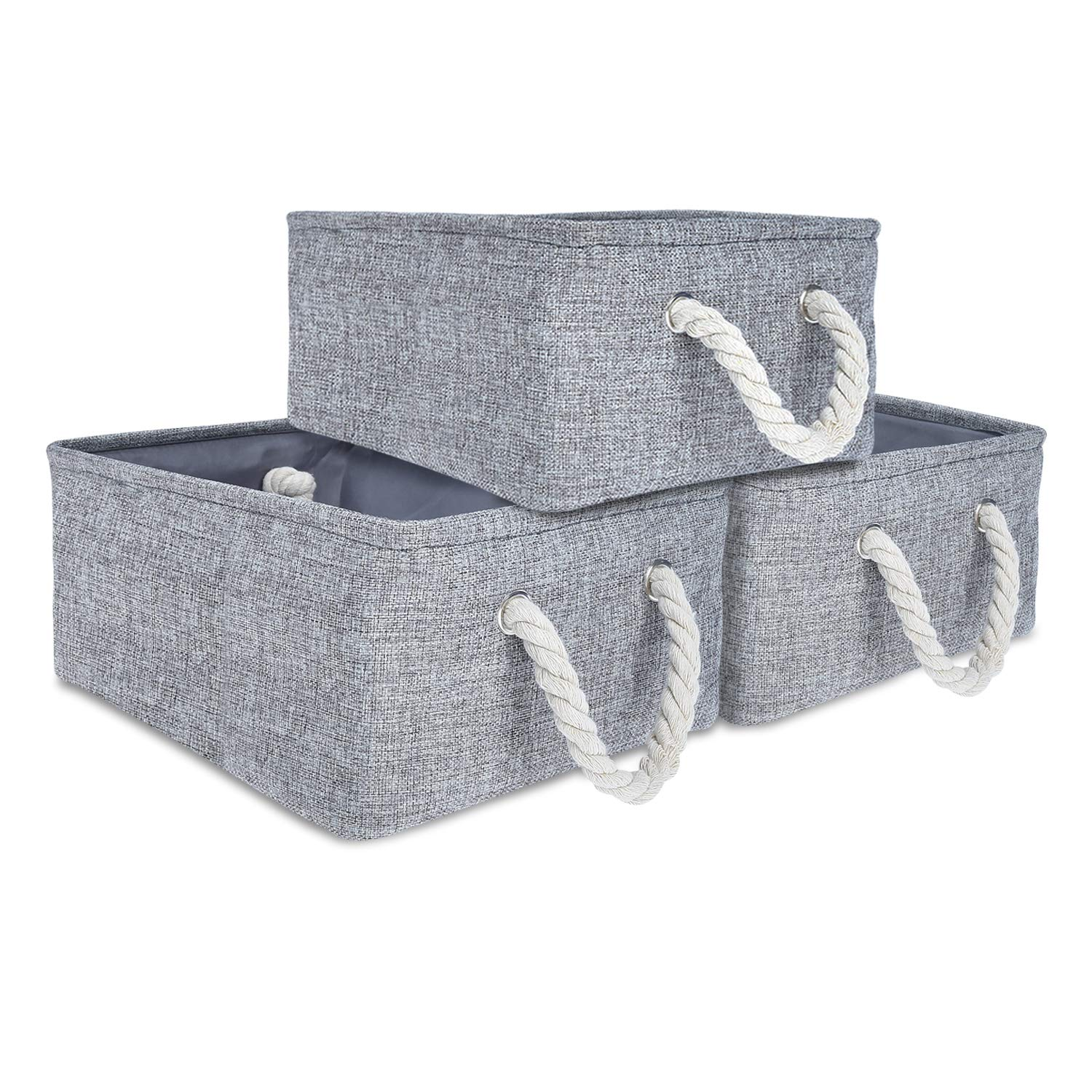 Expo Essential -3 Pack - 14''x11''x6'' Collapsible Storage Baskets Linen Bin Cube Foldable Toy Organizer, Bathroom Kitchen Fabric Storage with Dual Rope Handles