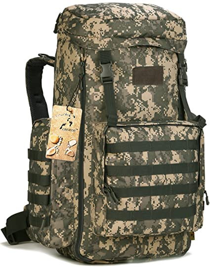 002535faf1 CREATOR 70-85L Large Capacity Tactical Travel Backpack MOLLE Hiking  Rucksack Outdoor Travel Bag for Travelling Trekking Camping Hiking Hunting    Sports ...