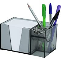 Organizador de Mesa Porta Lápis Clip Papel Lembrete (Papel Branco Incluso), Acrimet, (Cor Fume)