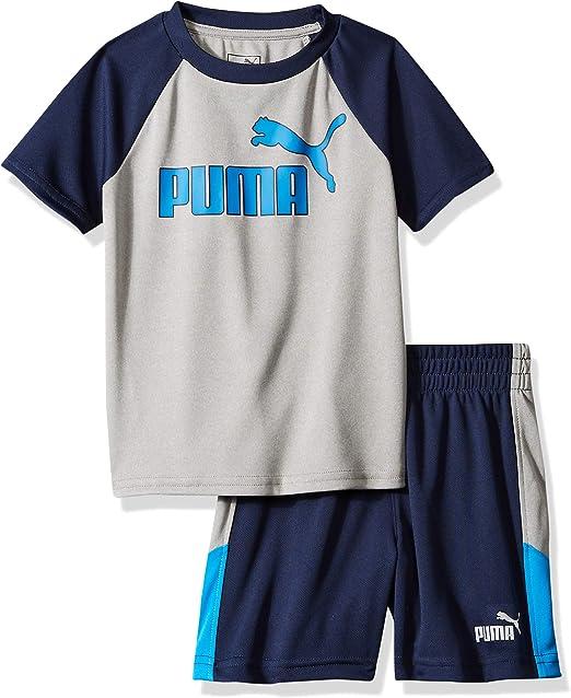 PUMA - Conjunto de Camiseta y pantalón Corto para niño - Gris - 4 años: Amazon.es: Ropa y accesorios