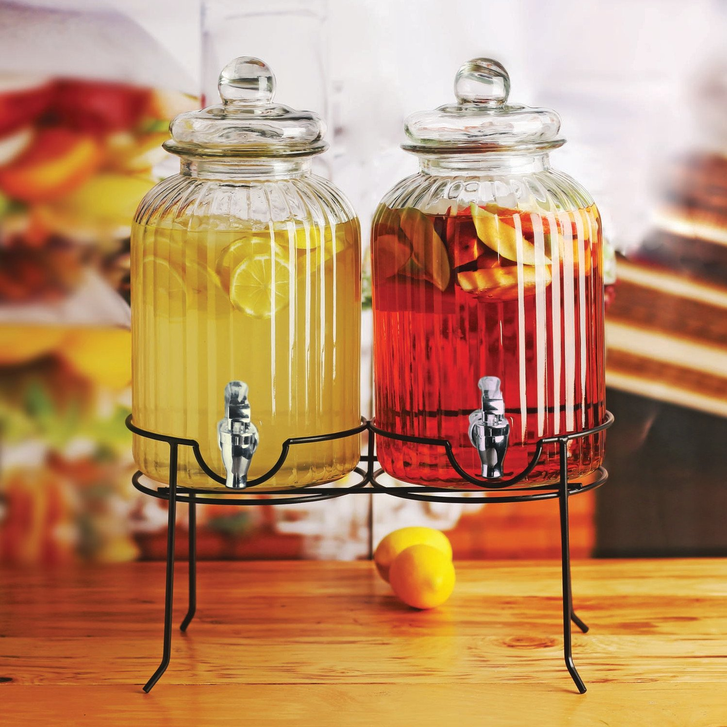 Circleware 66927 Sun Tea Mason Jar Double Glass Beverage Dispensers with Metal Stand and Lid Entertainment Kitchen Glassware for Water, Juice, Wine, Kombucha and Cold Drinks 1.3 Gallon Each Ridge by Circleware (Image #3)