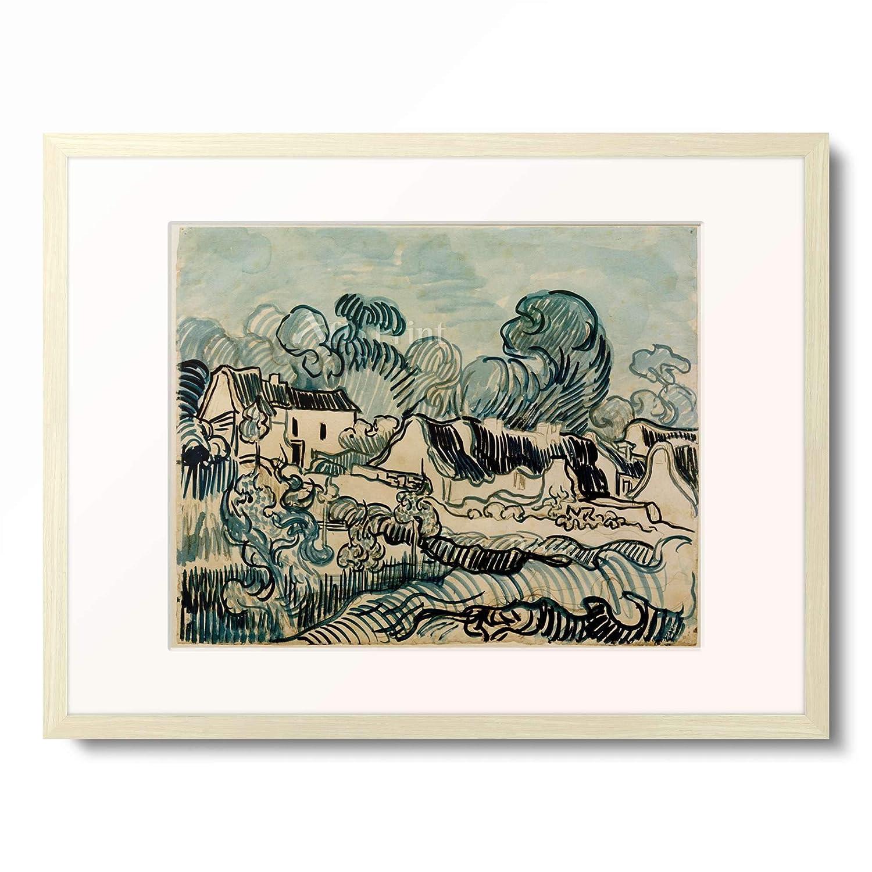 フィンセントファンゴッホ Vincent Willem van Gogh 「Landscape with Cottages」 額装アート作品 B07PDCT2PH 02.木製額 12mm(乳白) XL(額内寸 727mm×545mm) XL(額内寸 727mm×545mm)|02.木製額 12mm(乳白)