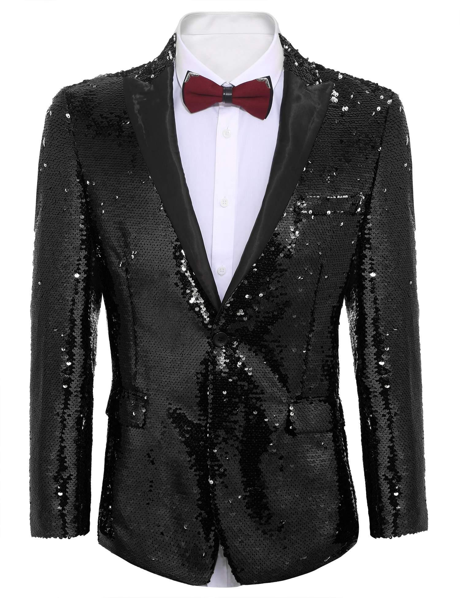 COOFANDY Shiny Sequins Suit Jacket Blazer One Button Tuxedo for Party,Wedding,Banquet,Prom,Nightclub (XXL, Pitch-Black)