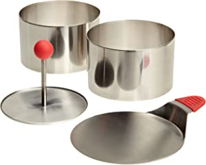 Ateco 4952 Round Food Molding Set, 3.5 by 2.1-Inches High, 4-Piece Set Includes 2 Rings, Fitted Press & Transfer Plate