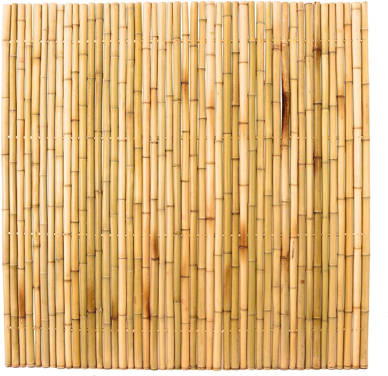 Bambuszaun 180x180cm Gelb Gebleicht Starr Mittels Moso