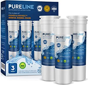 PURELINE 836848 Refrigerator Water Filter Replacement. Compatible with Fisher & Paykel 836848, 836860, WF296, E522B, PS2067635. Triple Action Filtration with Advanced Carbon Block. (3 Pack)