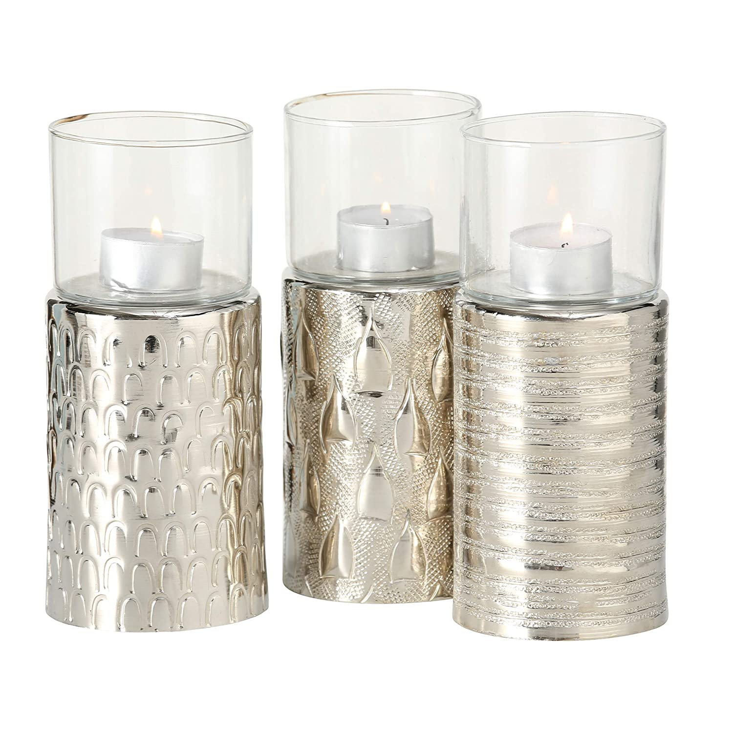 Cast Silver Aluminum WHW Whole House Worlds 3 Piece Shimmer Votive Candle Holder Set Finishes Handcrafted Glass Candle Sleeve Included 3 Curated Patterns Distinct Textured 7 1//2 Inches Tall