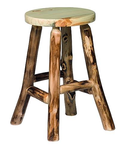 Amazoncom Rustic Aspen Log 24 Bar Stool No Back Kitchen Dining