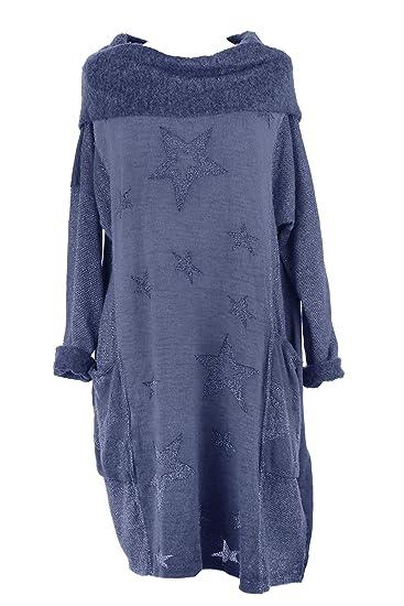 5b6857f8e7 TEXTURE Ladies Women Italian Lagenlook Long Sleeves Cowl 2 Pocket Lurex  Stars Mohair Wool Knitted Midi Dress One Size (Cornflower Blue