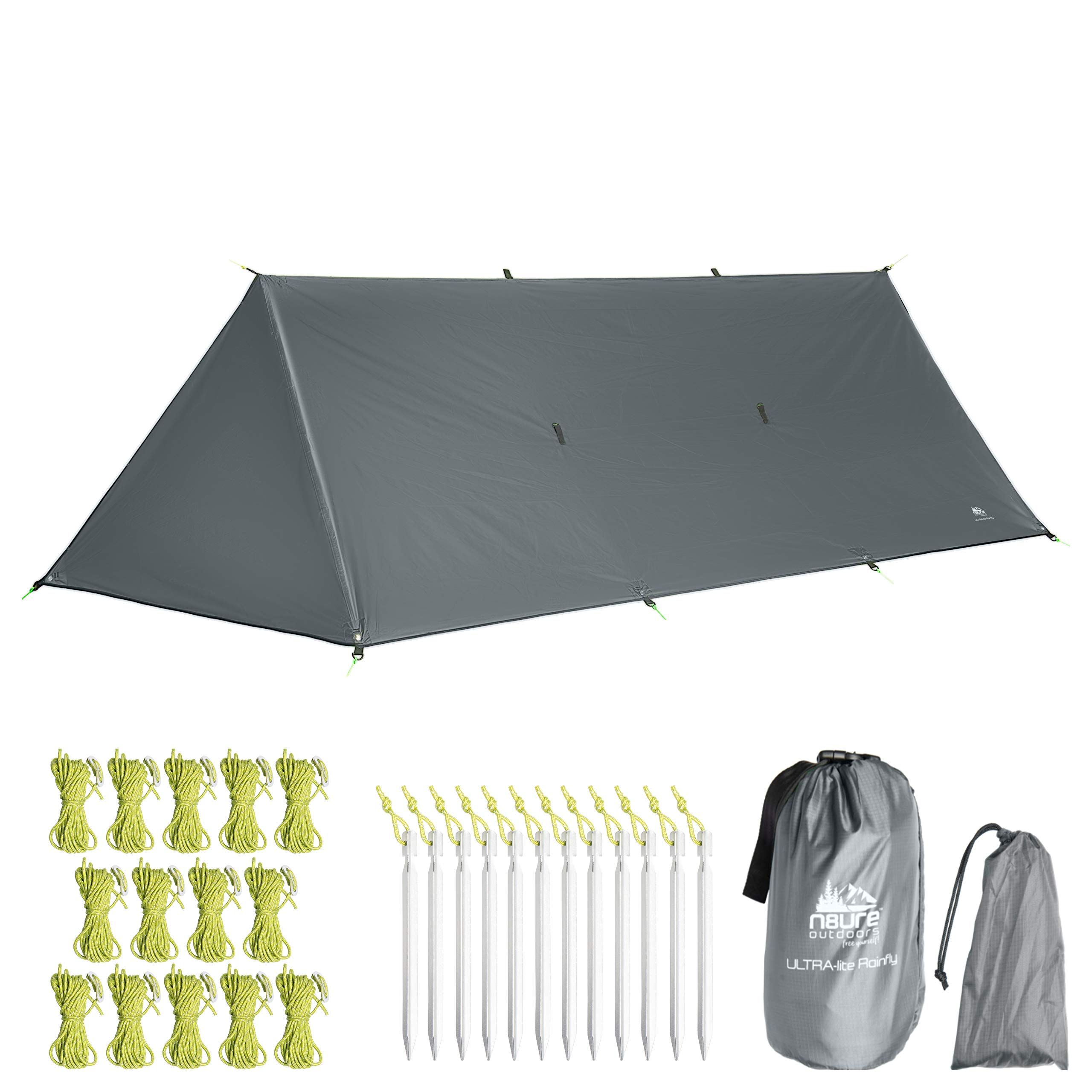 Premium Rainfly Tarp 10x10x16' Waterproof Ultralight Ripstop Nylon Hammock Camping Shelter with Doors Tent Canopy 20 x Tie-Outs Backpack Hike Bushcraft Survival Gear Includes Stakes Ropes (Gray) by N8URE Outdoors