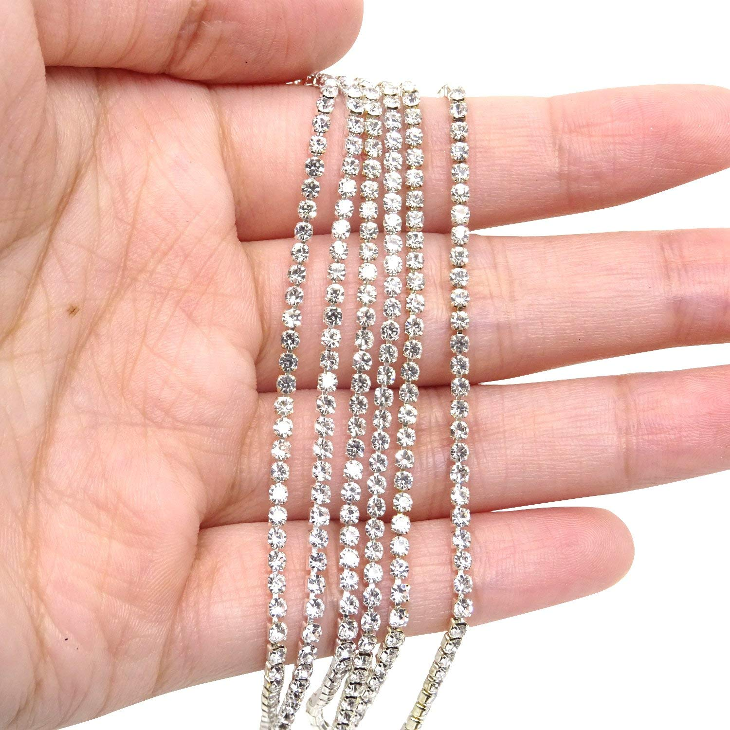 1 Roll 10 Yards Rhinestone Trim Crystal Cup Chain in Silver Setting Casing Clear SS12 3mm