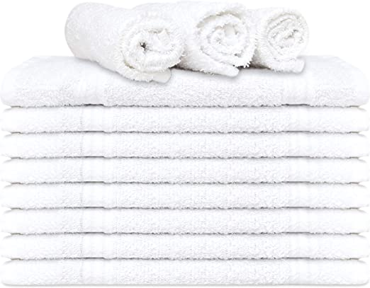 12 PACK WHITE WASH CLOTHS 12x12 INCHES COTTON BLENDED FACE TOWEL