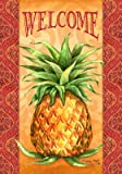 """ Elegant Pineapple "" - Welcome - Double Sided Garden Size Decorative Flag 12 X 18 Inches"