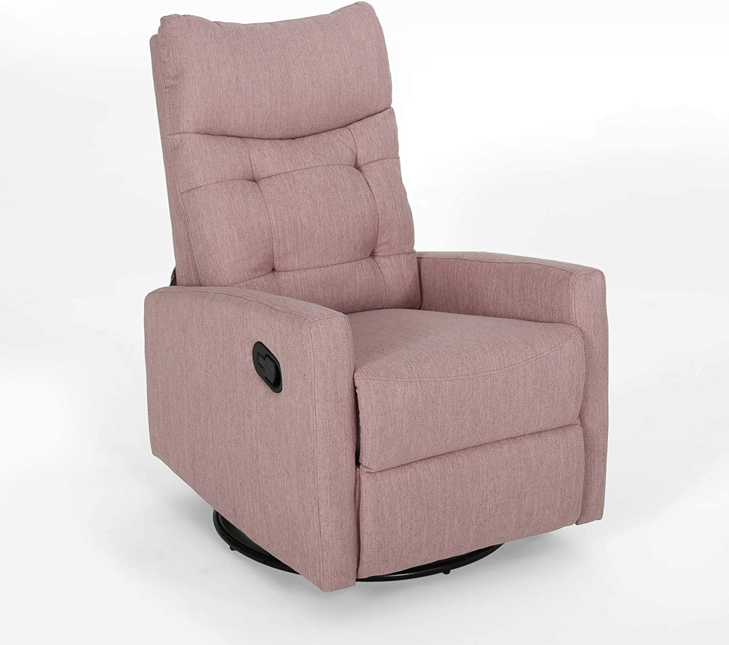 Christopher Knight Home Ishtar Glider Swivel Push Back Nursery Recliner, Light Blush, Black