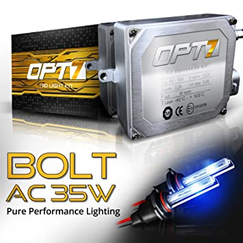 5X Brighter All Bulb Sizes and Colors 6X Longer Life 2 Yr Warranty OPT7 Bolt AC 55w 9012 HID Kit 6000K Lightning Blue Xenon Light