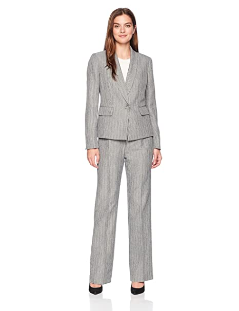 Amazon.com: le suit 1 BTTN chal de rayas para mujer collar ...