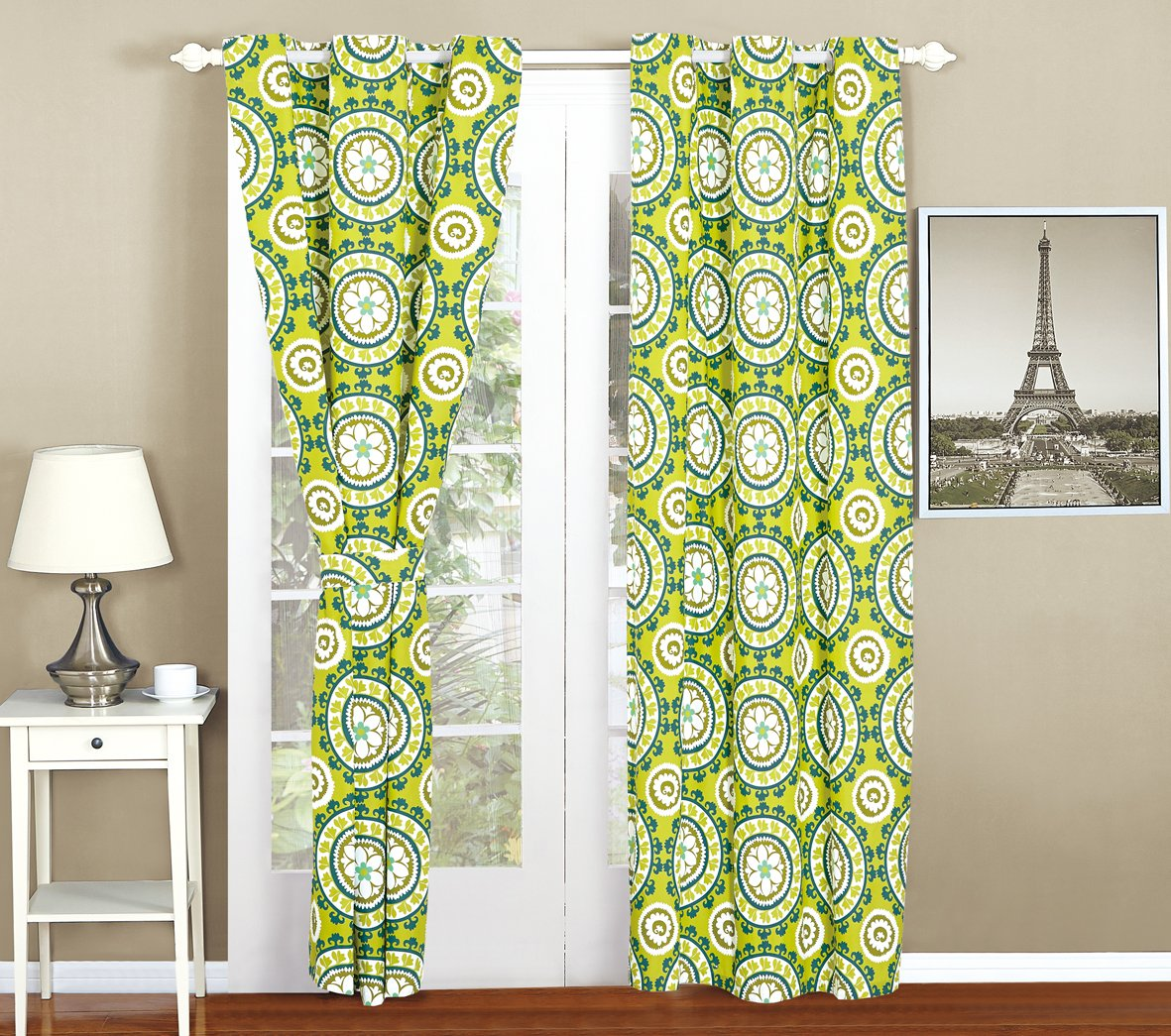 4PC CURTAIN ONLY, BLUE-GREEN/ LIME GREEN
