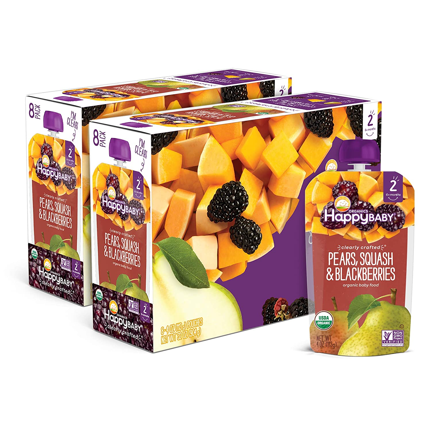 Happy Baby Organic Clearly Crafted Stage 2 Baby Food Pears, Squash & Blackberries, 4 Ounce (16 Count)