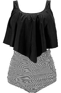 29d46f834f233 COCOSHIP Women's Retro Ruffled Racerback Tankini Top Flounce Falbala Bikini  Set Ruched High Waist Swimsuit(