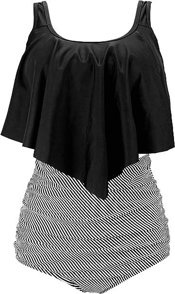 Amazon.com: COCOSHIP traje de baño de cintura alta con ...
