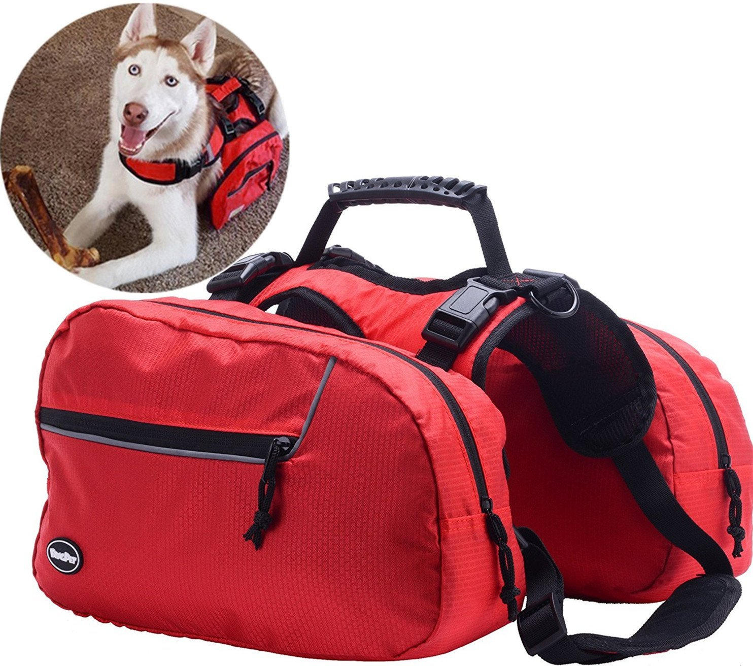 BINGPET Adjustable Dog Backpack for Hiking Camping Travel Pack Outdoor Accessory Saddlebag, Red S (Certified Refurbished)