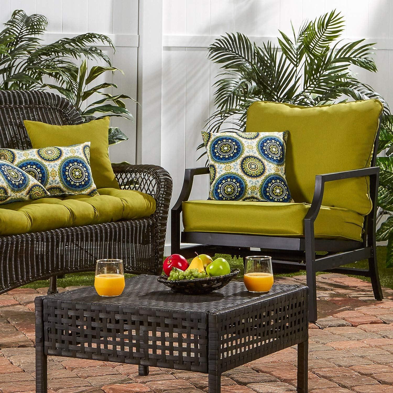 Greendale Home Fashions AZ7820-KIWI Lime Outdoor 2-Piece Deep Seat Cushion Set : Garden & Outdoor