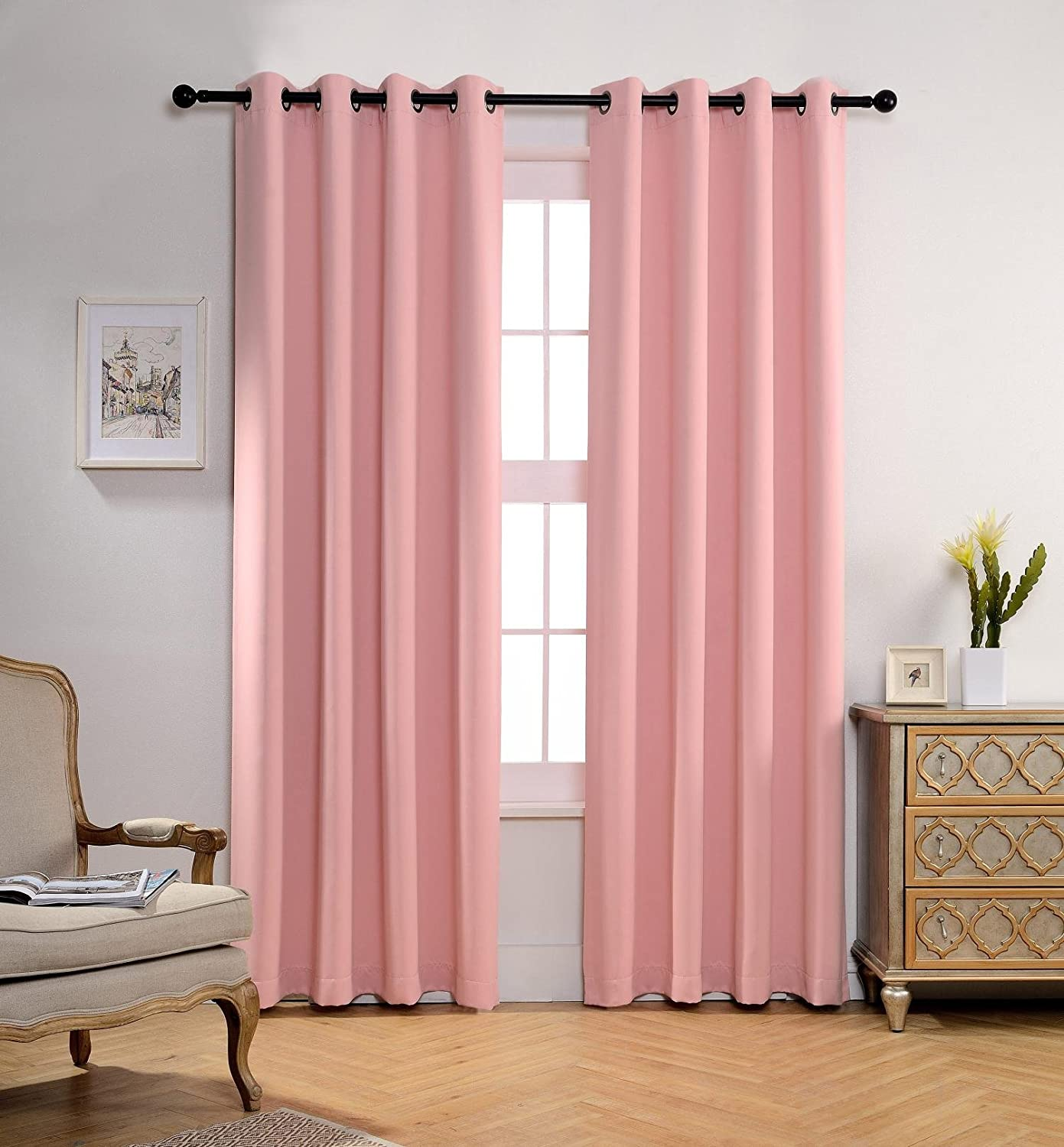Blackout Window Curtain Panels with 2 Tie Backs, Pink