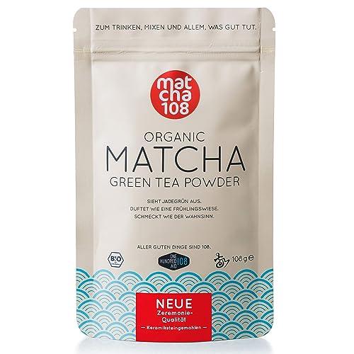 Matcha Tee Pulver 108 – Bio Zeremonie Qualität (für extra milden Teegenuss) – Ideal auch für Smoothies und Lattes – Zertifiziertes Grüntee Pulver [108g Ceremonial Grade Green Tea]