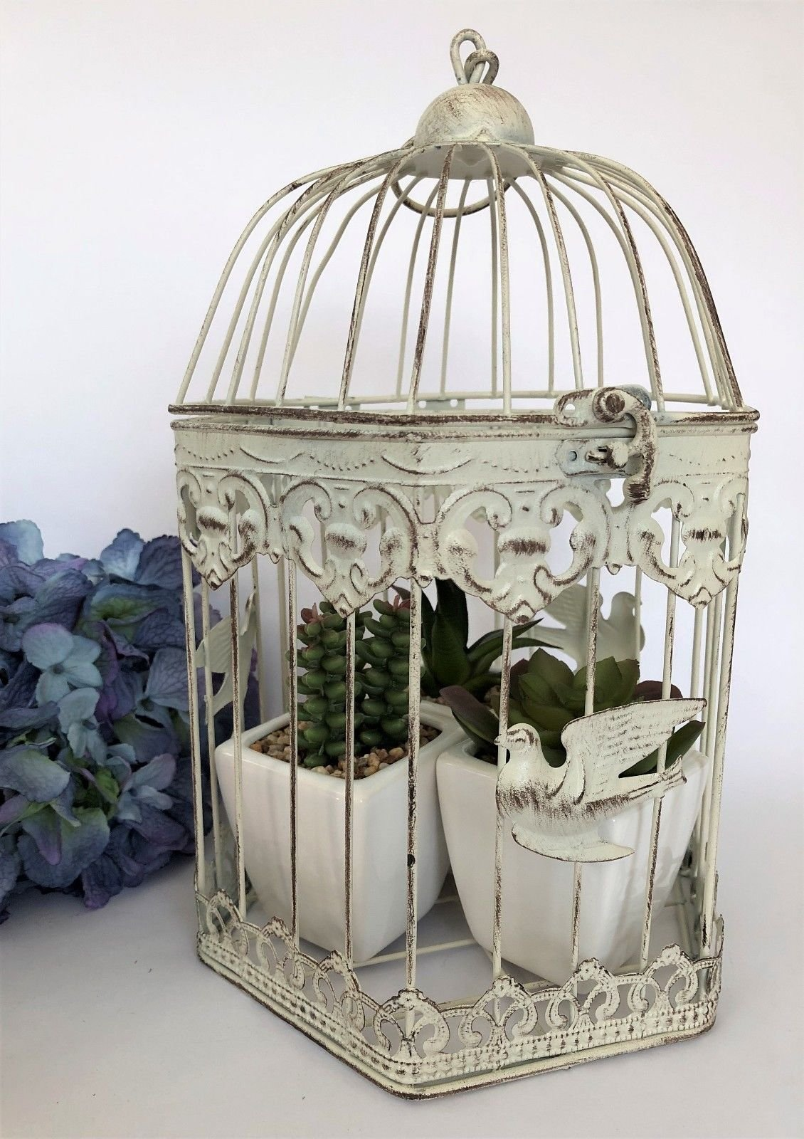 Hexagonal White Metal Bird Cage Vintage Shabby Heart Wedding Decoration Post Box