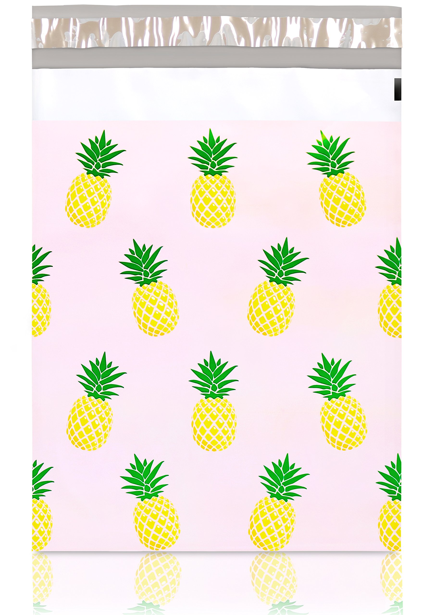 """Pack It Chic - 10"""" X 13"""" (100 Pack) Pink Pineapple Poly Mailer Envelope Plastic Custom Mailing & Shipping Bags - Self Seal (More Designs Available)"""