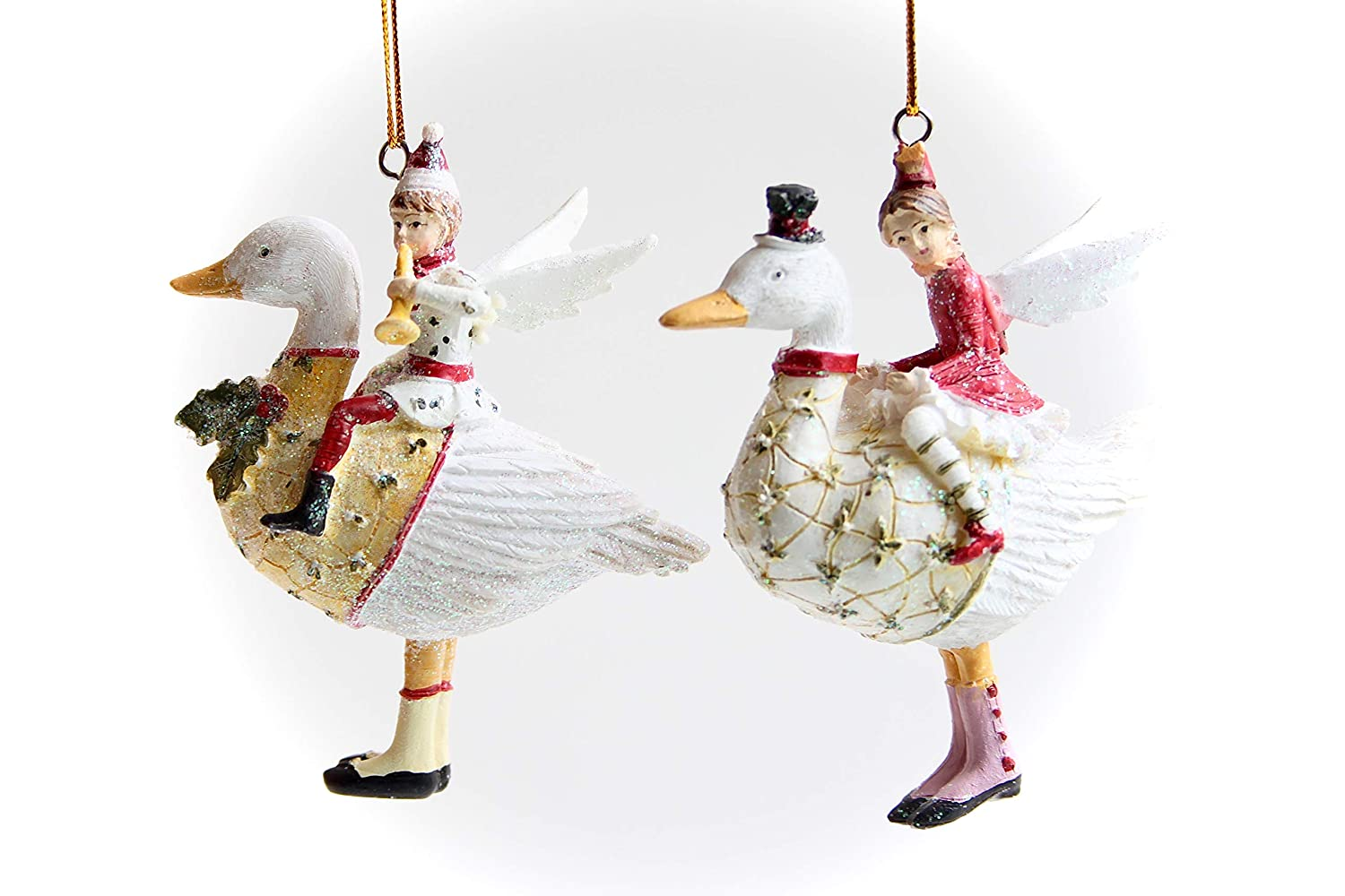 ACHARACTERSHOP Gisela Graham Set of 2 Victorian Children Traditional Festive Occasion Christmas Tree Decorations