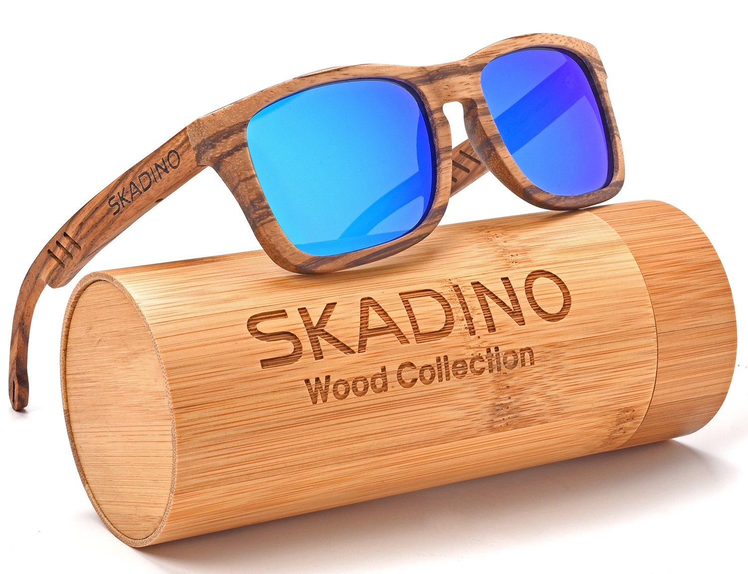 SKADINO Wood Sunglasses for Women&Men with Polarized lenses-Handmade Floating Wood Shade-Zebra Wood S1057C04