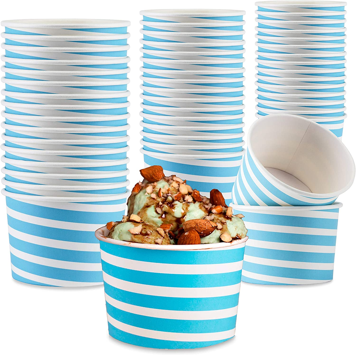 Typtop Ice Cream Sundae Cups - 50 Paper Disposable Dessert Bowls and Party Supplies Cups 8-Ounces