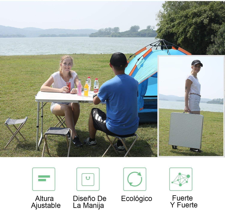 Camping 1.2m Mesa + 4 Sillas Mesa Plegable Multifuncional con Altura Ajustable,Plegable Port/átil Mesa De Comedor Barbacoa Nestling/®