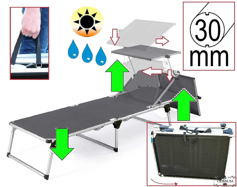 liege sonnenliege mit sonnendach dach klappbar tragbar seewasserfest hochwertig bequem und. Black Bedroom Furniture Sets. Home Design Ideas
