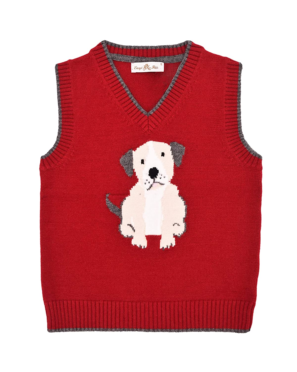 Sweater Vest for Kids V Neck Cartoon Sweater Unisex Kids Knit Waistcoat 4-7T