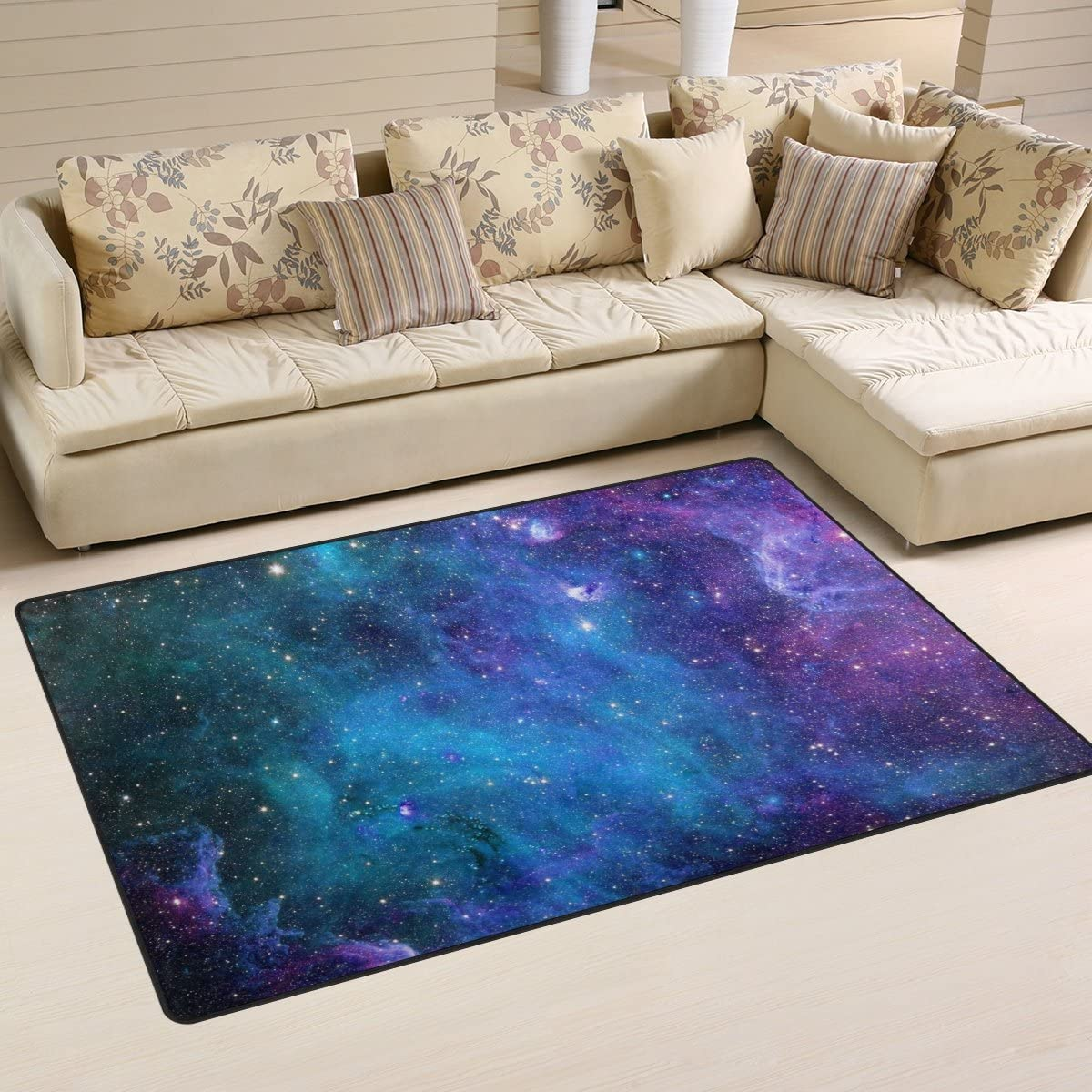 Sunlome Space Universe Nebula Galaxy Starry Area Rug Rugs Non-Slip Indoor Outdoor Floor Mat Doormats for Home Decor 60 x 39 inches