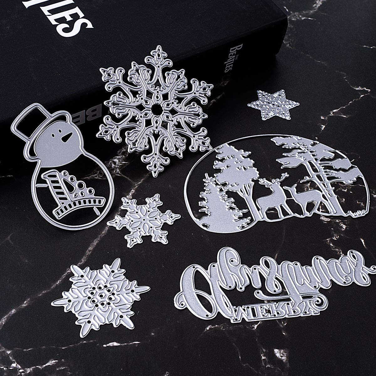 Merry Christmas Cutting Dies Set Xmas Snowman Deer Snowflake Tree Dies Cuts Metal Stencil Template for DIY Scrapbook Album Paper Card Making Craft Decoration