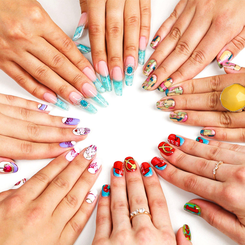 500 Stücke Acryl Künstliche Gefälschte Falsche Nägel Kunst Tipps mit Box für Damen Mädchen (100 Stück, Transluzent Natürlich Voll)